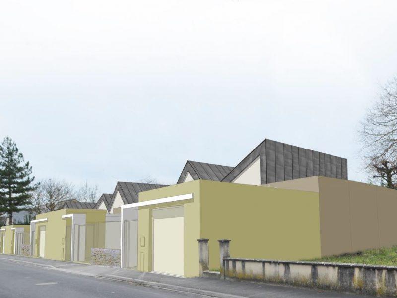 Villa bleue, logements sociaux, Chacé, Sophie Seigneurin, architecte (insertion)
