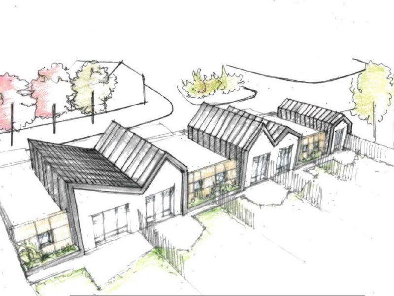 Villa bleue, logements sociaux, Chacé, Sophie Seigneurin, architecte (croquis axono)